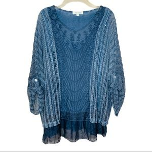 Belle France Blue Open Knit Crochet Boho Tunic Top